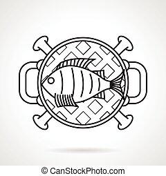 fish, vecteur, noir, grillé, ligne, icône