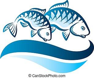 fish, vecteur, vagues