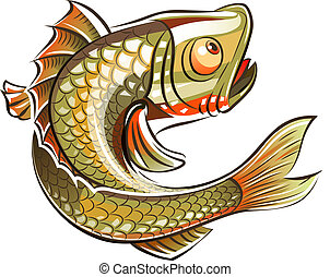 Fish. Eps10 vector illustration. Isolated on white...