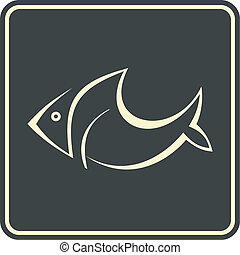 Fish - vector icon, sign