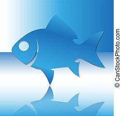 fish., vektor, árnykép, ábra