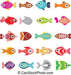 fish, vektor, ikon, sæt