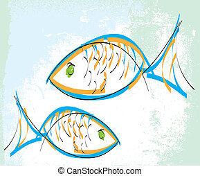 fish., vektor, illustration