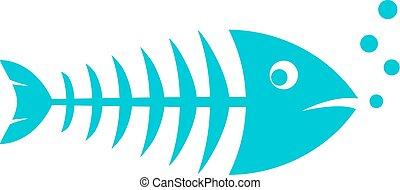 fish, vektor, kost, ikona