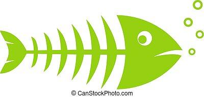 fish, vektor, kostra, ikona
