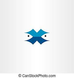 fish, vektor, levél x, jel, jelkép