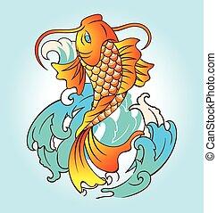 fish, vektor, tattoo., ábra
