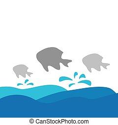 fish, vektor, tenger, ábra, lenget