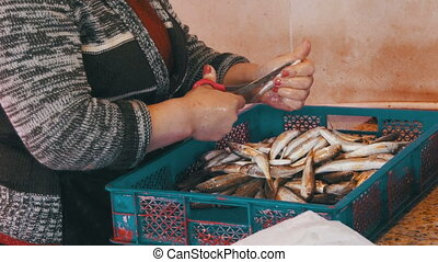 Fish Vendor Scaling Fish in Market Stall. Manual cleaning of...