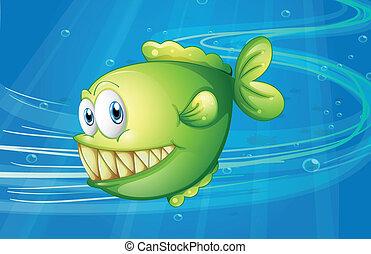 fish, verde, mare, sotto
