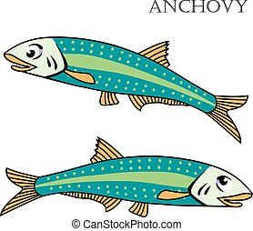 fish, vettore, illustration., acciuga