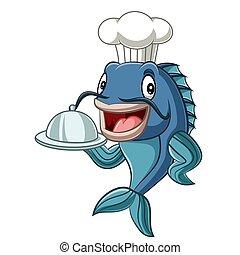 fish, vrchní kuchař, karikatura, podnos, majetek