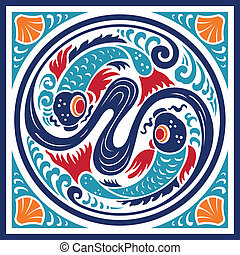 Fish Water Element Symbol - A pair of swimming fish,...