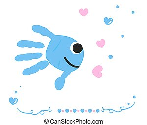 Fish with baby hand prints vector
