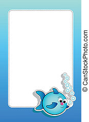 Fish with bubbles and blank frame