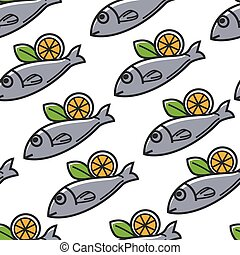 Fish with lemon Greek food and cuisine seamless pattern