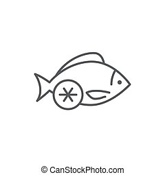 Fish with lemon meal editable line icon - restaurant pixel perfect vector illustration isolated on white background.