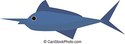 Fish with long nose, illustration, vector on white background.
