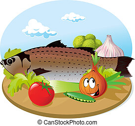 fish with vegetable