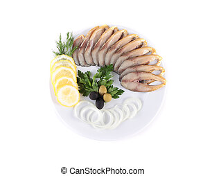 fish with vegetables, anion olives