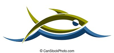 Fish with wave. - A logo of the stylized sea fish with a...