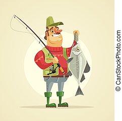 fish., wohnung, groß, zeichen, abbildung, vektor, fischer, halten, karikatur, glücklich