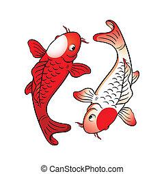 Fish yin yang - Koi fishes yin yang with japanese flag ...