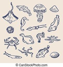 Fish1 - Hand drawn vector set of various ocean inhabitants....