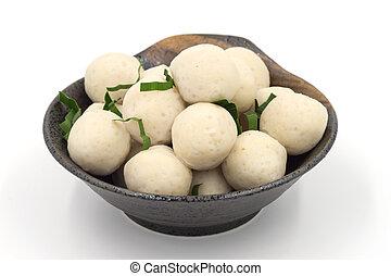 Fishballs on white background.