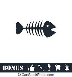 Fishbone icon flat