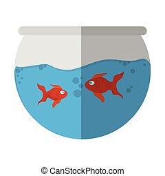 fishbowl, dessin animé, icône