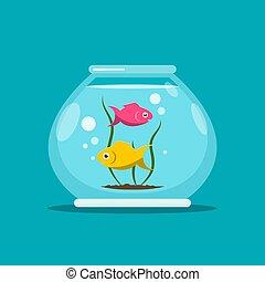 fishbowl., fish, ベクトル, illustration., 水族館