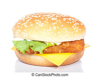 fishburger, isolé, blanc