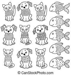 fishe, koty, psy, zbiór, rysunek