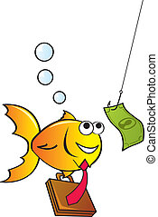 Fished In - A cute yellow fish chasing after a dollar...