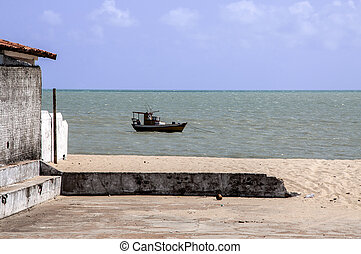 Fisher boat (Pititinga, Brazil) - Anchored fisher boat at ...