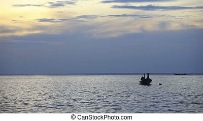 Fisher boats. - Fisher boats in the ocean. Sunset. Phuket,...