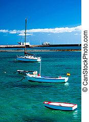Fisher boats in laguna Charco de San Gines, Arrecife