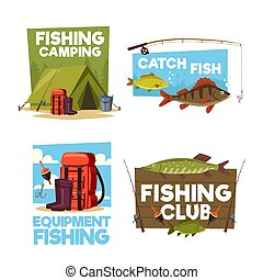 Fisher camping club adventure vector icons