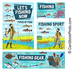 Fisher catching fish, fishing sport gear