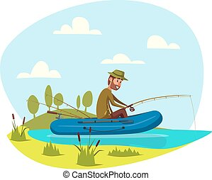 Fisher man fishing on boat with fish rod vector - Man in...