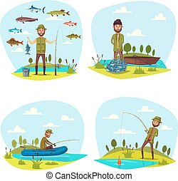 Fisher man fishing vector big fish catch