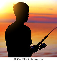 Fisher man silhouette
