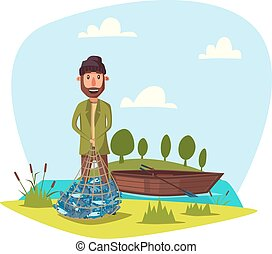 Fisher man with fish catch vector