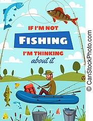 Fisher man with rod fishing in boat