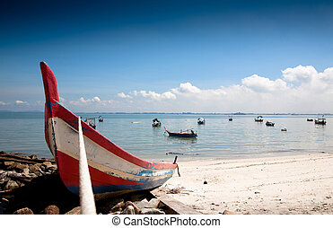 Fisher On The Beach Under The Blue Sky. Penang Collection
