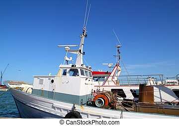 fisherboat, ligado, mediterrâneo, porto