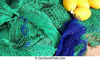 Fisherboat trawler nets blue green - Fisherboat trawler nets...