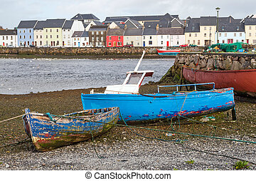 Fisherboats on land in Claddagh - Fisherboats on land in the...