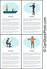 Fishering Hobby Nautical Poster with Text Sample - Fishing...